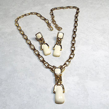 Vintage Jewelry Set Off White Enameled Gold Tone Monet Earrings and Adjustable Necklace Womens Retro Jewelry