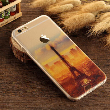 Eiffel Tower Case TPU Cover for iphone 7 7 Plus & iphone 6 6s Plus & iphone se 5s + Gift Box