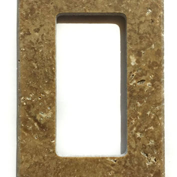 Noce Travertine Single Rocker Switch Wall Plate / Switch Plate / Cover - Honed