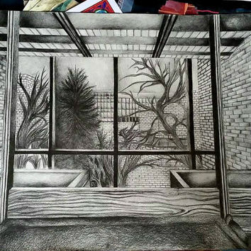 Landscape Perspective Drawing, Graphite Pencil Art, Original Drawing
