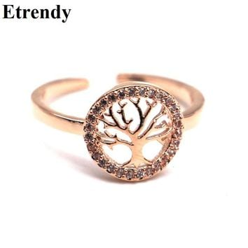 Simple Rhinestone Life Tree Design Cute Rings For Women Bijoux Rose Gold-color New Fashion Jewelry Classic Elements Gifts