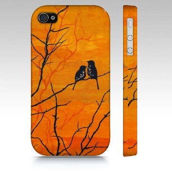 iPhone4 Case - Moment of Silence - cellphone cover orange sunset love birds landscape art romantic painting phone landscape Oladesign