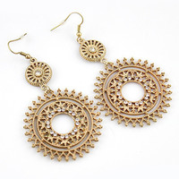 Spiro Circle with Stone Earrings