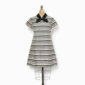 Vintage 60s Mod DRESS / 1960s Striped Silk Wool A-Line Scooter Dress M - L