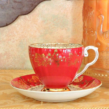 Antique Royal Grafton Gold Red Hand Painted Teacup & Saucer Set, Red Tea Cup, Red Gold Bone China Teacup, Tea Party Tea Cup Set