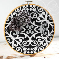 Black and White handmade flower hoop art from VioletsBuds