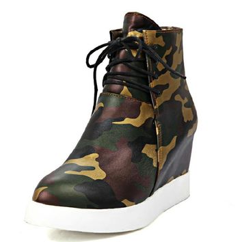 brand new big size 33-43 solid inner rise heels wedges women boots camouflage prints