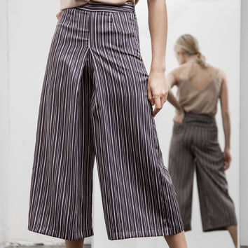 Navy Pin Stripe Wide Pant