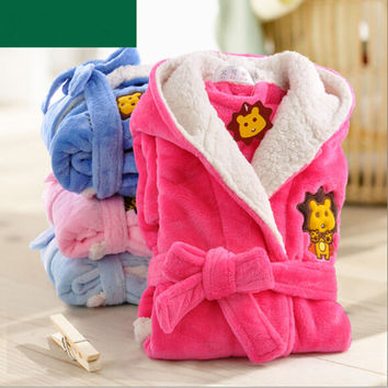 New Arrival 2016 Children's Bathrobes Winter Child Coral Cashmere Bathrobe Hooded Thick Boys And Girls Cartoon Robe Lengthened