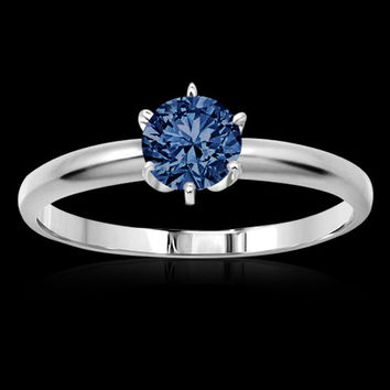 1 carat Blue diamond solitaire engagement sterling silver diamond ring