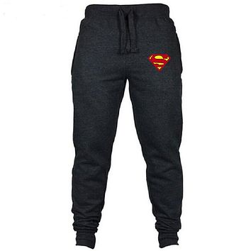 Brand New Men Joggers Superman Trousers Casual Pants Sweatpants Jogger grey Casual Elastic cotton GYMS Fitness Workout Pants