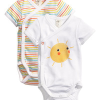 H&M - 2-pack Bodysuits - White/Multistriped - Kids