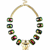 Gold tone scarab beetle gem stone necklace - necklaces - jewellery - women