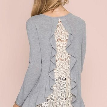 Lace Back Detail Knit Top - Gray
