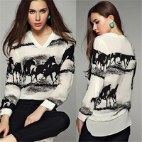 Fashion T Shirt Women Tops Long Sleeve Casual V-Neck Tee Shirt Femme Black Horse White Shirt Chiffon T Shirt A10