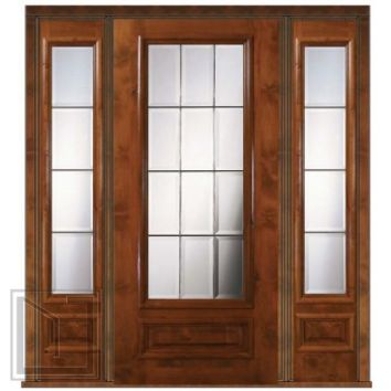 Prehung French Sidelites Door 80 Wood Alder French 3/4 Lite Glass
