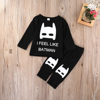 Infant Baby Clothing Sets Cute Batman Newborn Baby Boy Girl Kids T-shirt Top+Long Pants Outfit Clothes Set