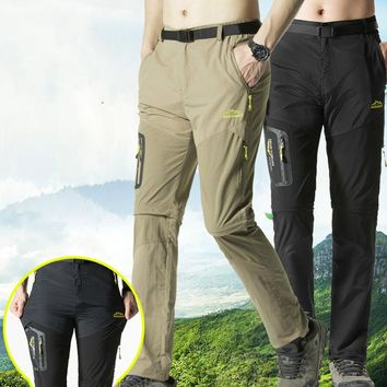 Men's Hiking Pants Outdoor Camping Trousers Quick Dry Trouser Hunting Trekking Fishing Pants Summer Breathable Removable Shorts