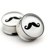 Mustache Picture Plugs gauges  00g 1/2 by mysticmetalsorganics