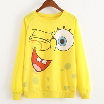 promotion 2015 au tumn casual Spongebob Printed hoodies = 1932623364