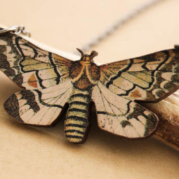 Moth Wooden Necklace -   Woodcut Brown Woodland Nature Butterfly Pendant