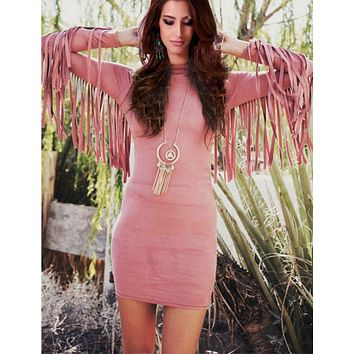 DCCKJ1A HOT TASSEL LONG SLEEVE DRESS