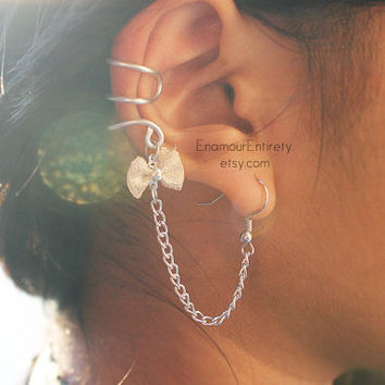 Silver (or Gold) Bow Ear Cuff Earring