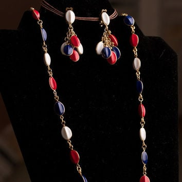 Vintage Necklace and Earring Set in Red White and Blue Marked West Germany
