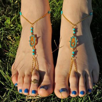2PCS/Lot Hamsa Gold Hand of Fatima Dangle Bracelet Anklet Ankle