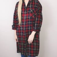 Vintage Red Navy Plaid Flannel Shirt