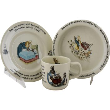Vintage Beatrix Potter Peter Rabbit Nursery Set By Wedgwood Made