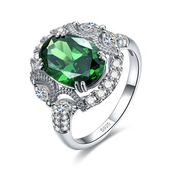 Merthus 5.35ct Emerald Green May Birthstone Cluster Art Deco Ring 925 Sterling Silver