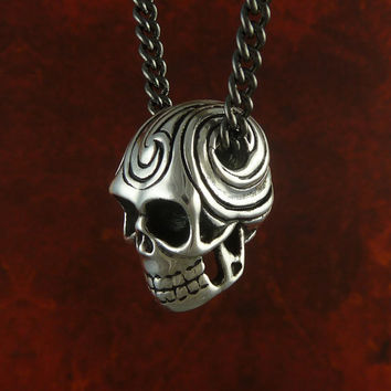 "Skull Necklace Antique Silver Maori Tattoo Skull Necklace on 24"" Gunmetal Chain"