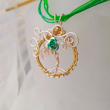 Green Rose Tree Of Life Pendant, Wire Woven Tree of Life Necklace, Whimsy Tree of life, Gift For her