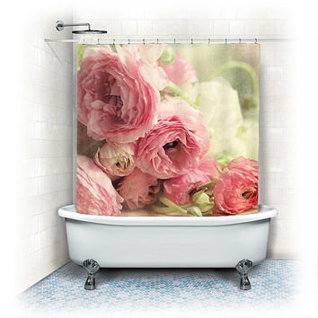 "Ranunculus Fabric Shower Curtain ""The First Bouquet"" white, pink,bathroom,home decor,pastel flowers,Ranunculus,nature,floral shower curtain"