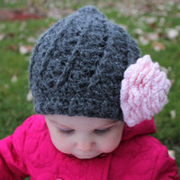 Crochet baby/toddler/child winter/fall hat with detachable flower.MADE TO ORDER