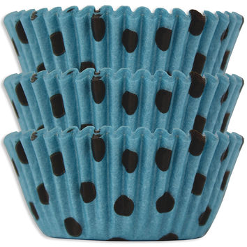 Blue & Black Polka Dot Baking Cups