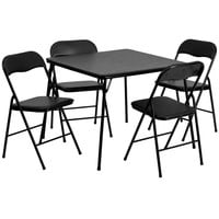 5 Piece Black Folding Card Table and Chair Set JB-1-GG