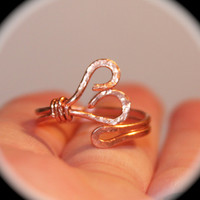 Heart Ring, Adjustable Copper Ring, Knuckle Midi Toe Rings, Handmade Rings, Pinky Ring, Thumb Ring, Copper Rings