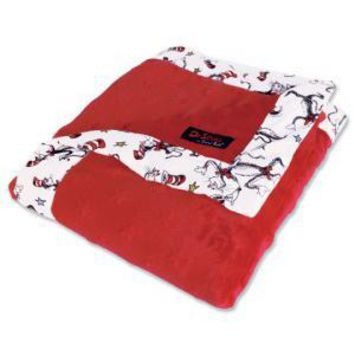 Dr. Seuss Cat in the Hat Red Framed Baby Blanket