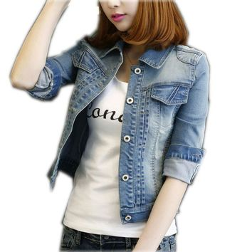 2017 Autumn winter denim jacket women brand fashion jeans coat cropped jacket women outerwear top quality Jean Jacket casaco 4XL