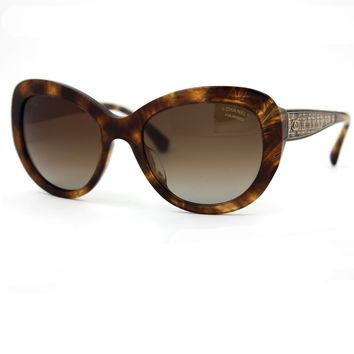CHANEL Sunglasses Brown Gold Butterfly Frame with Brown Polarized Lenses 5346A