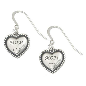 Sterling Silver MOM Heart Earrings