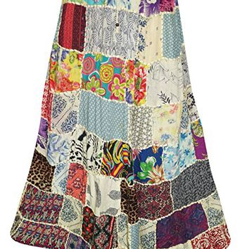 Women's Peasant Skirts Colorful Printed Patchwork Vintage Maxi Skirts L