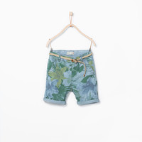 FLORAL PRINT SHORTS WITH ROPE BELT New