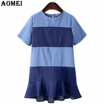 Summer Casual Short Sleeve Mini Dress Women Patchwork Denim O Neck Female Tunics New Office Lady Blue Wear to Work Dresses