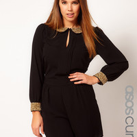ASOS CURVE Exclusive Playsuit With Sequin Collar And Cuff