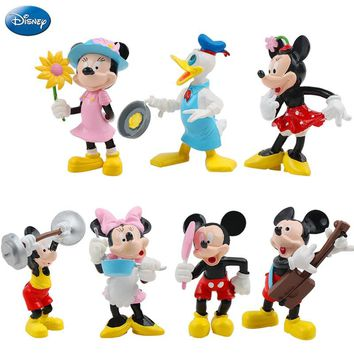 7Pcs Disney Mickey Mouse Minnie Mouse Action Figure Princess Donald Duck Doll Christmas Gift Children Kid Boy Toys Collection