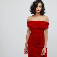 Reiss Velvet Off Shoulder Dress at asos.com