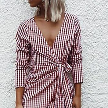 In My Heart Red White Plaid Pattern Long Sleeve Cross Wrap V Neck Casual Mini Dress